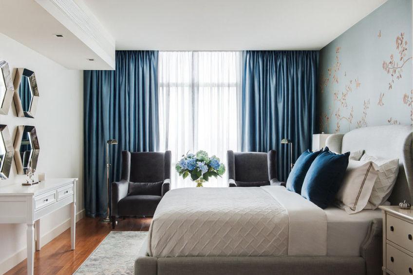 Цвет штор в спальню